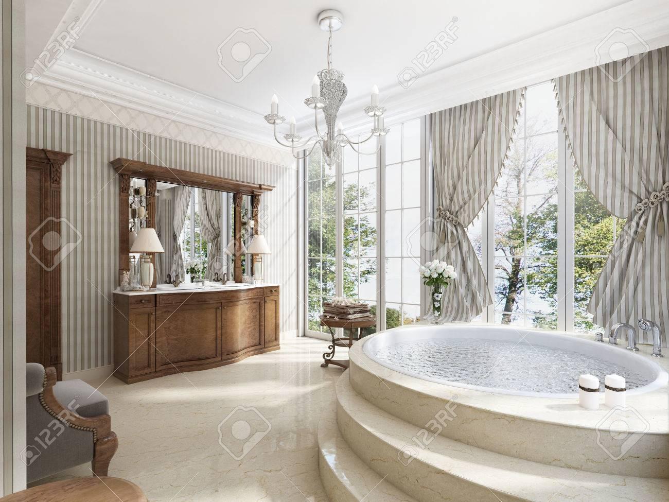 Badezimmer In Luxus Neoklassizistischen Stil Mit Waschbecken Badewannen Und  Einem Großen Runden Badewanne Mit Marmorstufen
