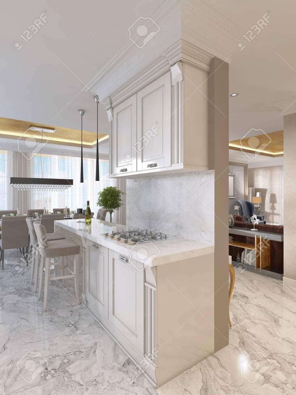 Cocina de lujo con muebles de opalina en estilo art déco. Con la barra de  desayuno y taburetes de la barra. Integrado en los aparatos de cocina.