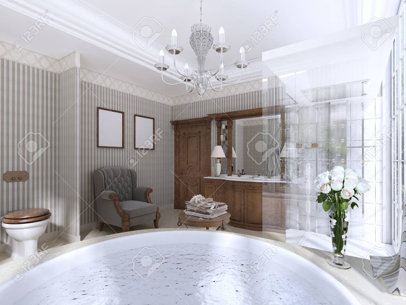 Luxury Bathroom In Classic Style. Bathroom With Jacuzzi, Shower ...