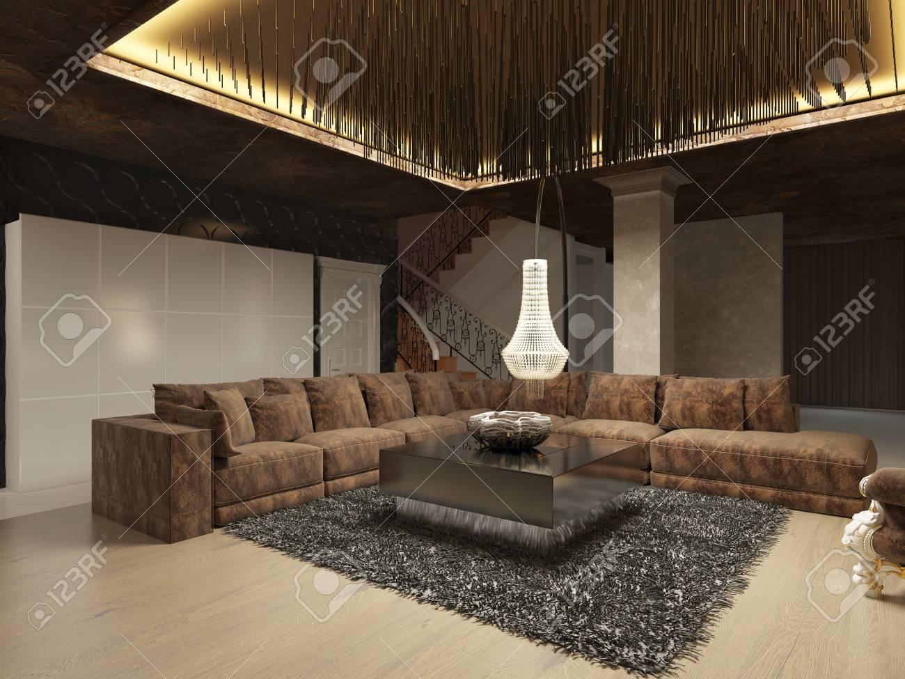 Luxus Modernes Wohnzimmer Im Art Deco Stil In Dunklen Brauntönen . Das  Design Ist