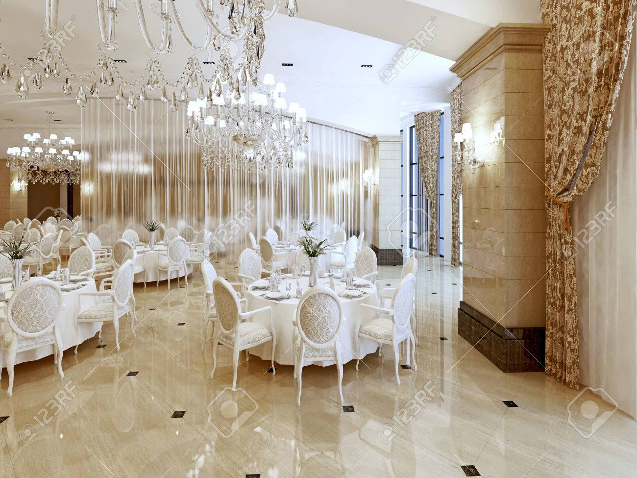 A Grand Restaurant And A Ballroom In A Luxury Hotel The Interior Stock Photo Picture And Royalty Free Image Image 66021301