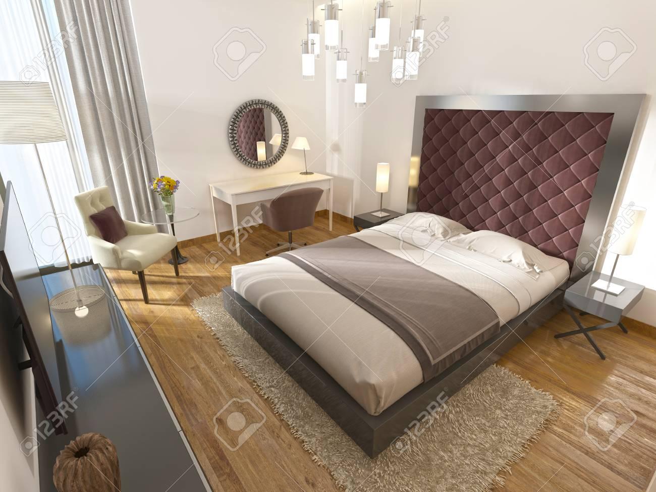 Une Chambre D\'hôtel De Luxe Dans L\'art Déco. Avec Un Grand Lit, D ...