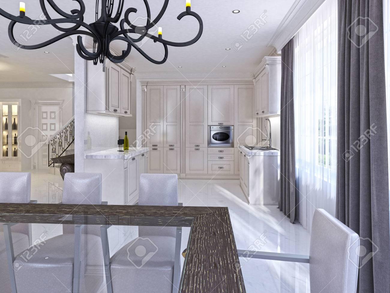 Cuisine-salle à manger classique au style Art Deco. Grande table à manger  pour huit cuisine modulaire avec appareils intégrés. Rendu 3D.