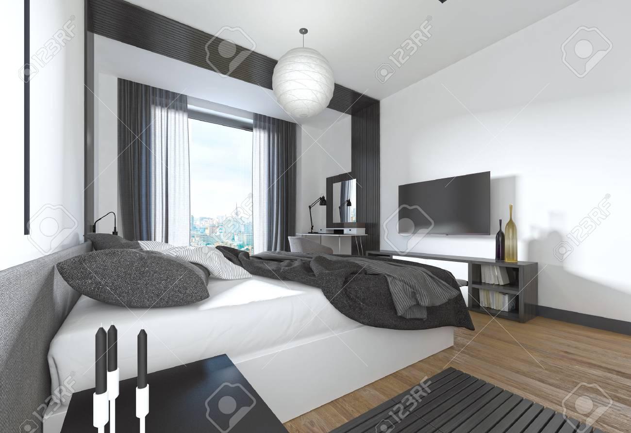Luxueuse chambre moderne dans le style contemporain en noir et blanc.  Chambre avec des éléments décoratifs sur les murs. Rendu 3D.