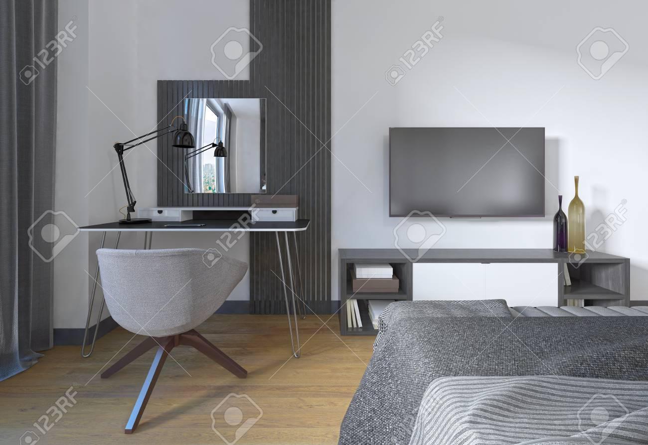 Schminktisch Und Stuhl In Einem Modernen Schlafzimmer . Der ...