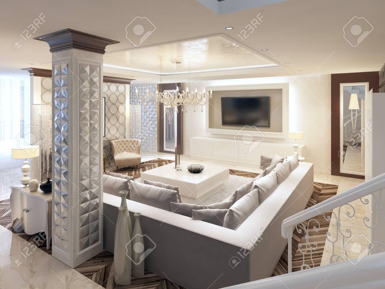 Luxury art Deco design bright living room with large corner sofa..