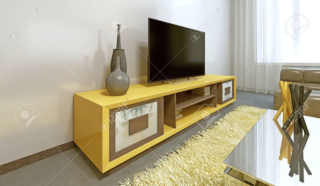 Meuble TV jaune vif dans le salon moderne avec télévision. Rendu 3D.
