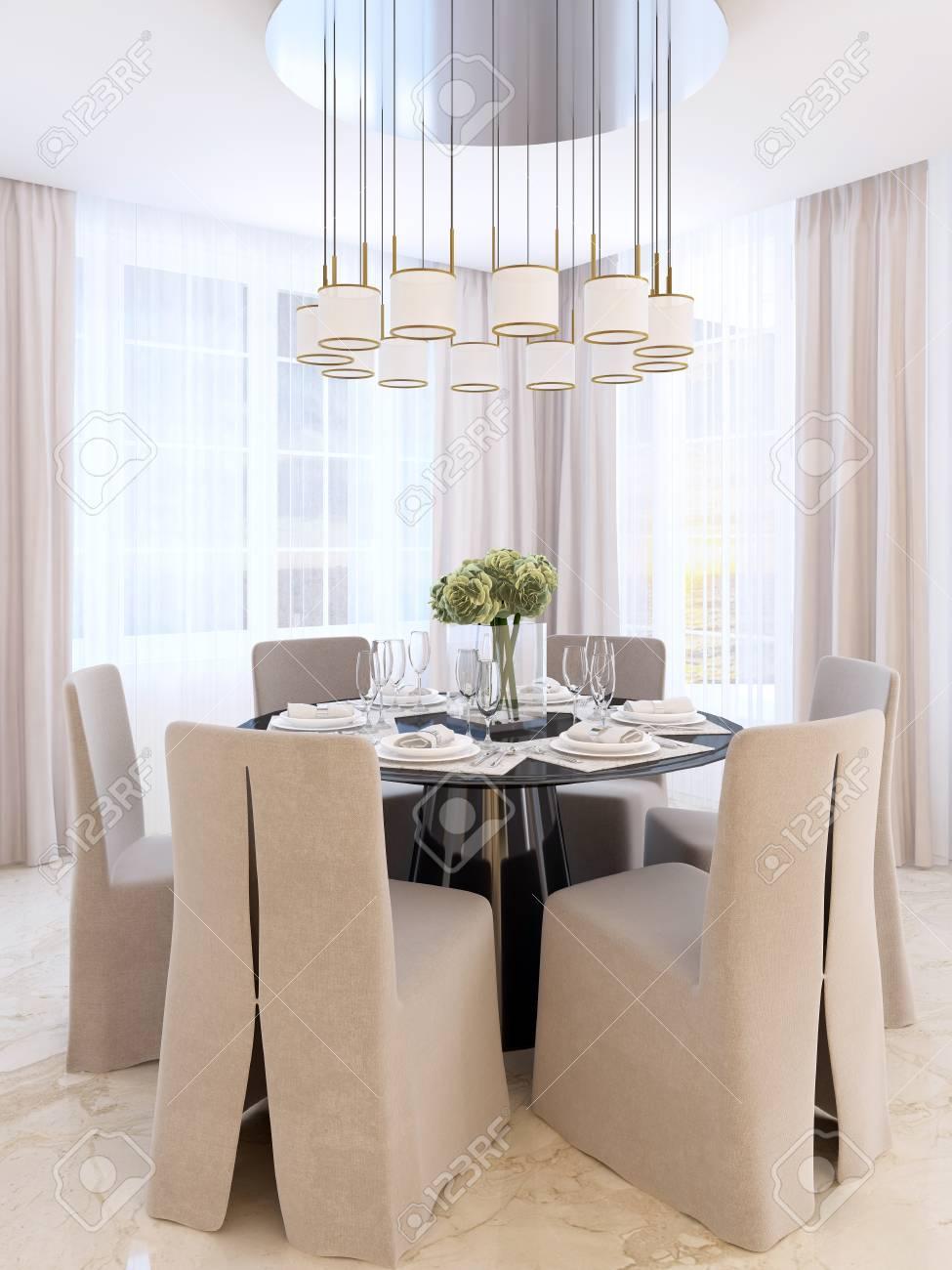 Mesa de comedor moderna con seis sillas. Mesa decorada en negro y lámpara  sobre él. Comedor Art Deco. Render 3D