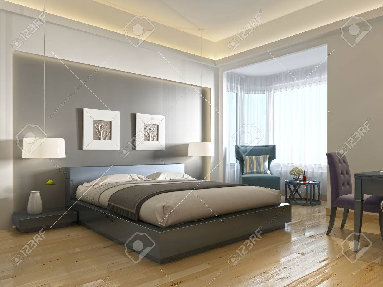 Modern hotel room with large bed, contemporary style with elements..