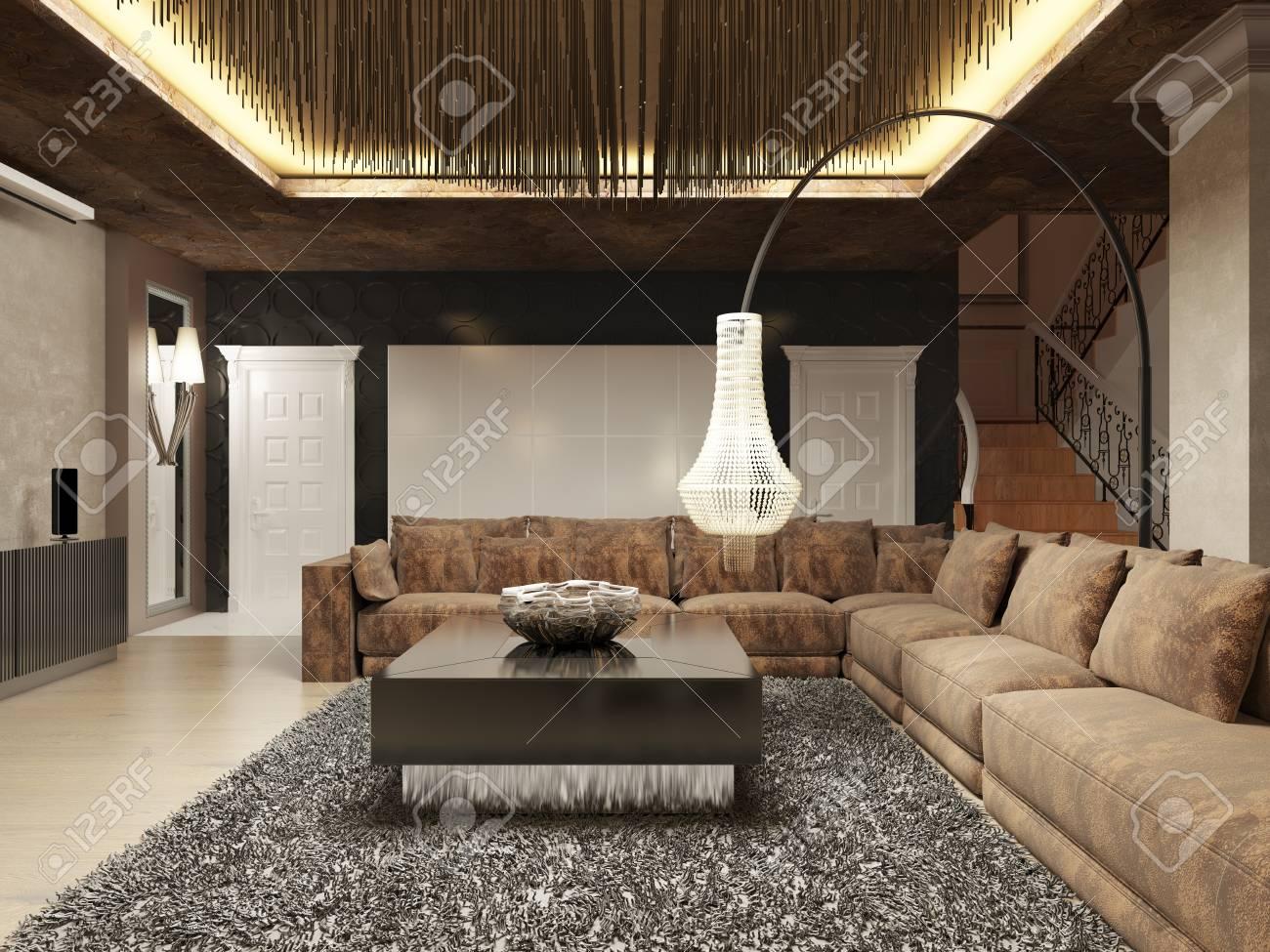 Soggiorno moderno di lusso in stile Art Deco nei toni del marrone scuro. Il  design è realizzato in marrone e giallo. Rendering 3D