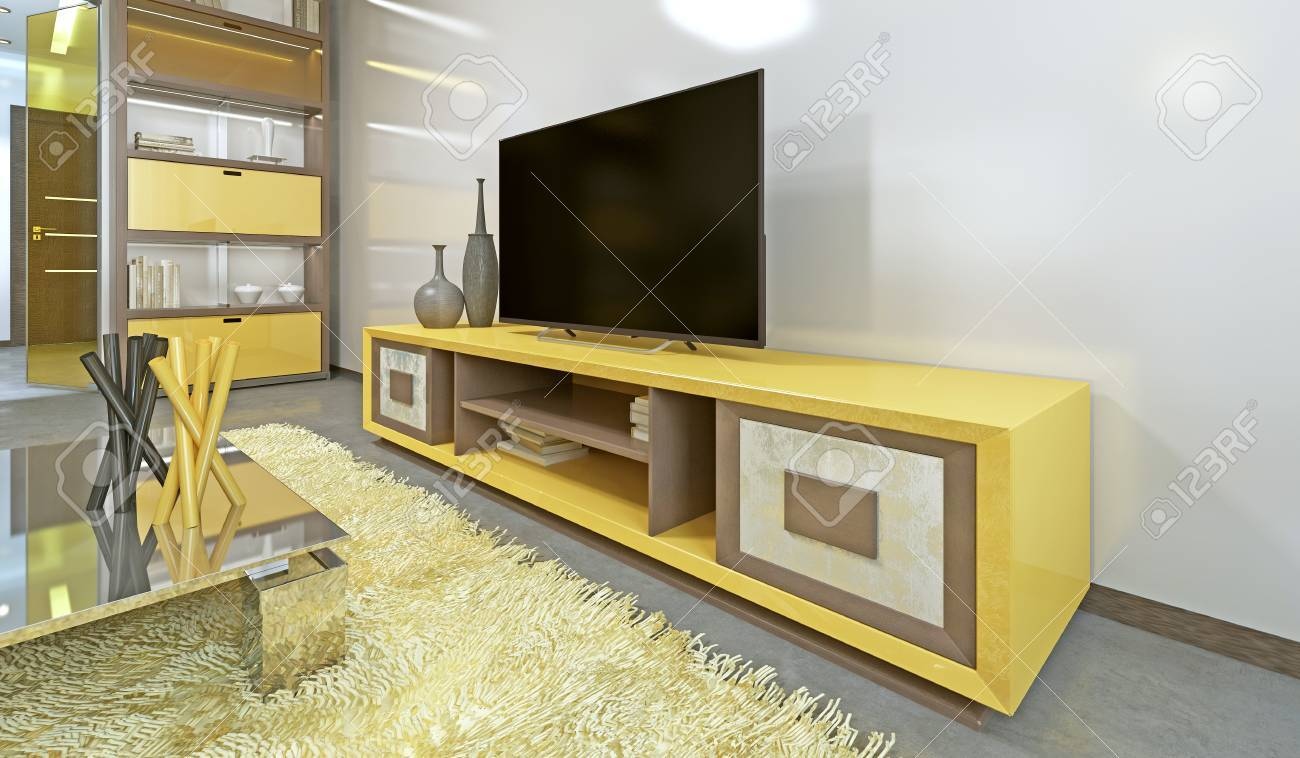 Bright Yellow Tv Unit In Modern Living Room With Tv 3d Render Stock Photo Picture And Royalty Free Image Image 66381198