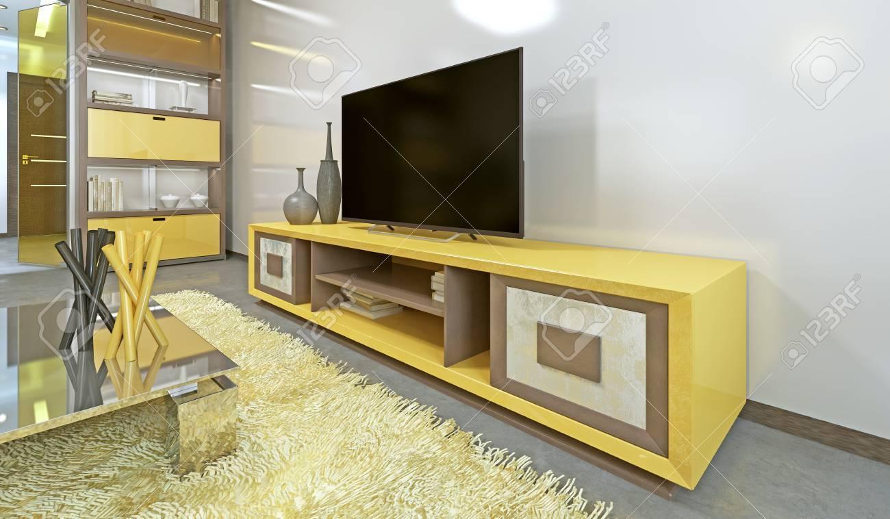 Meuble Tv De Salon meuble tv jaune vif dans le salon moderne avec télévision. rendu 3d.