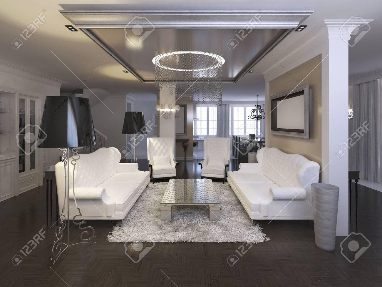 Luxuriöses Wohnzimmer Design Mit Weißen Stühlen Und Sofa. Silber ...