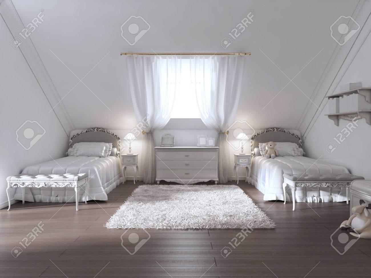 Luxus Kinderzimmer Für Zwei Kinder Im Art Deco Stil. Das Design Ist In Weiß  Und