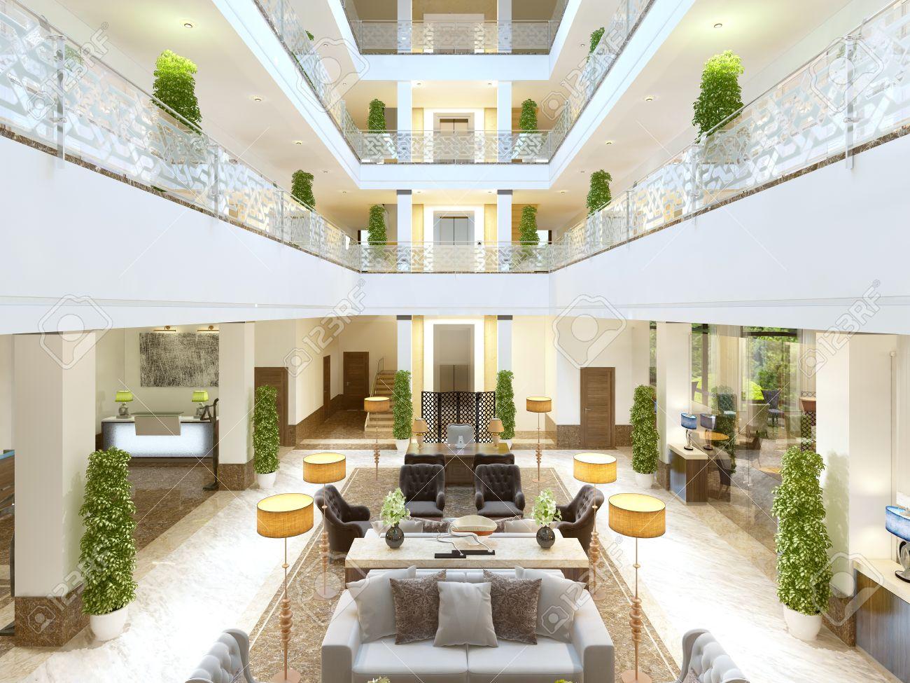 Luxus-Interieur-Design Lounge-Bereich Des Hotels. Teure Polstermöbel ...