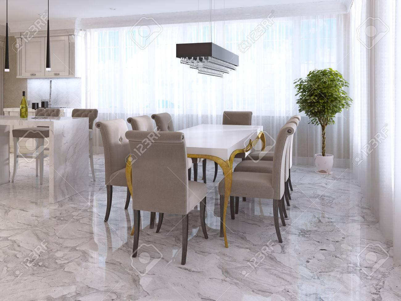 Liebenswert Esstisch Stühle Beige Foto Von Großer Für Acht Im Stil Des Art