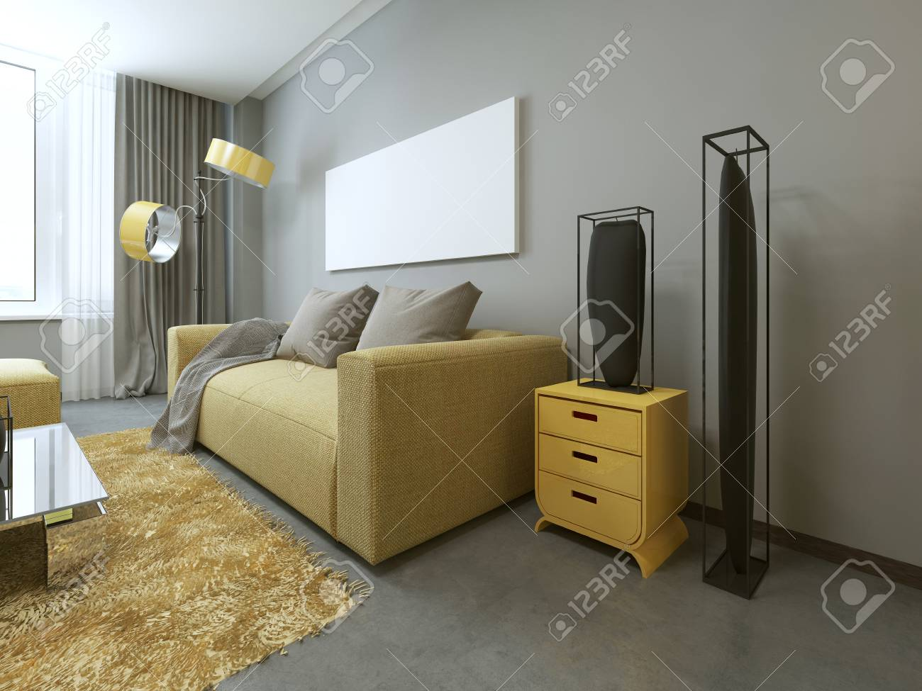 Contemporary Living Room With Yellow Furniture And Gray Walls