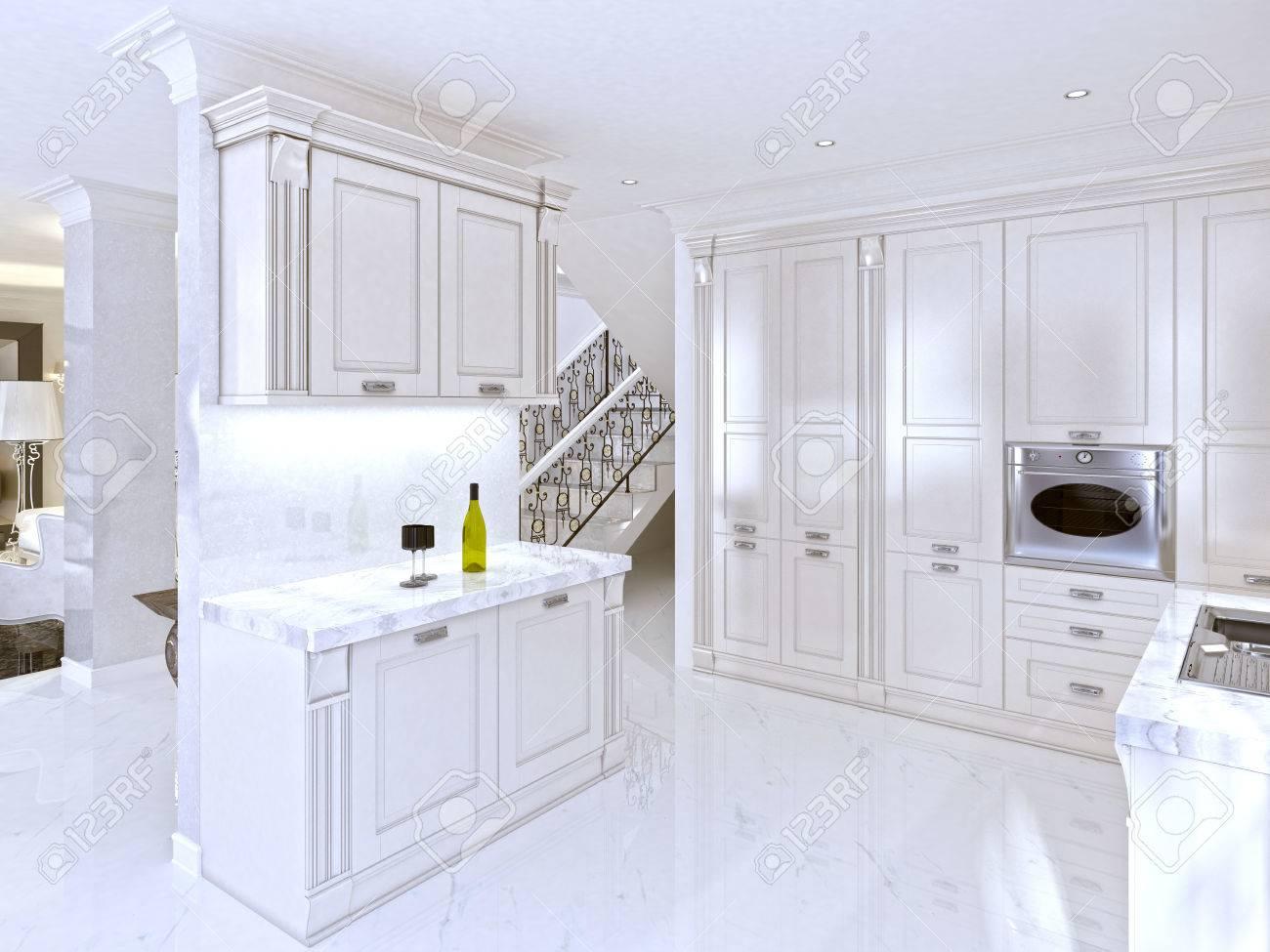 cuisine blanche spacieuse dans le style art déco avec appareils