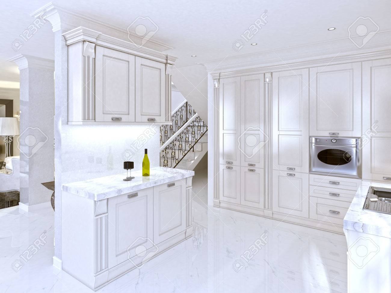 Spacious White Kitchen In The Art Deco Style With Integrated Stock Photo Picture And Royalty Free Image Image 66484880