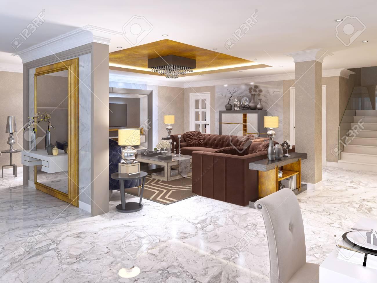 Luxuriöses Wohnzimmer Stil Art Deco In Weiß, Gold Und Beige Farbe ...