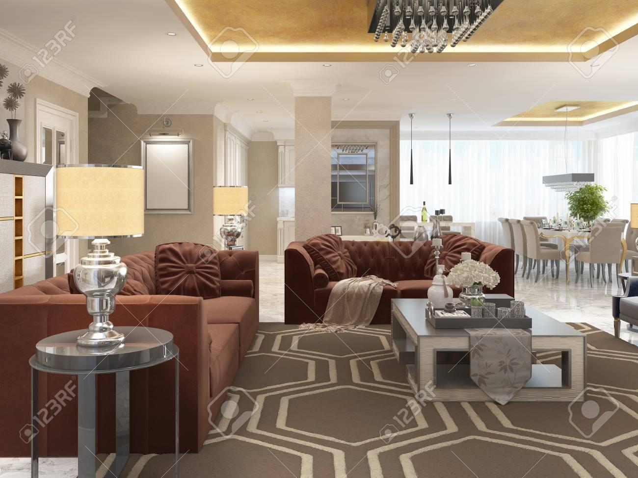 Diseño De Lujo Apartamento-estudio En Estilo Art Déco. Sala De Estar ...