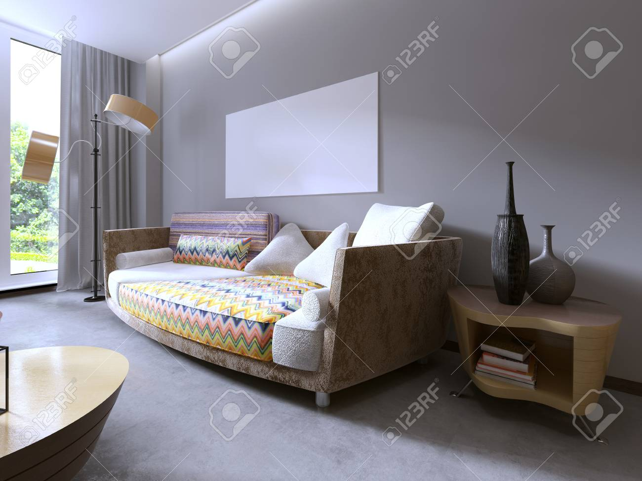 Modern beautiful colourful sofa designs. Living room and mockup poster on the wall. 3D & Modern Beautiful Colourful Sofa Designs. Living Room And Mockup ...