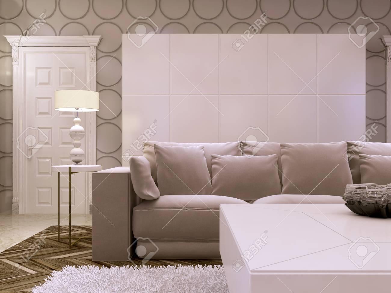Gran Diseno De Gabinete Blanco En La Sala De Estar Moderna Sofa Con Mesa Auxiliar Y Lampara Render 3d