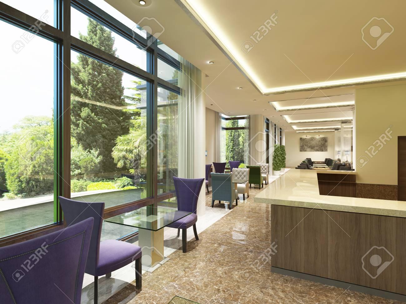 Das Moderne Design Der Cocktailbar Im Hotel Mit Großen Fenstern. Farbige  Stühle Mit Einem Glastisch