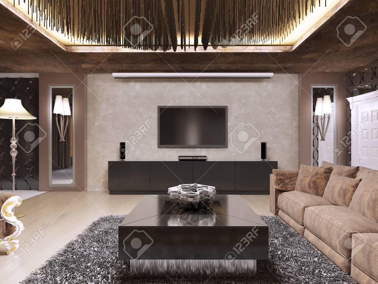 Standard Bild   TV Einheit Im Luxuriösen Wohnzimmer Im Modernen Stil  Gestaltet. Das Design Ist In Brauner Und Gelber Farbe Gehalten. 3D  übertragen.