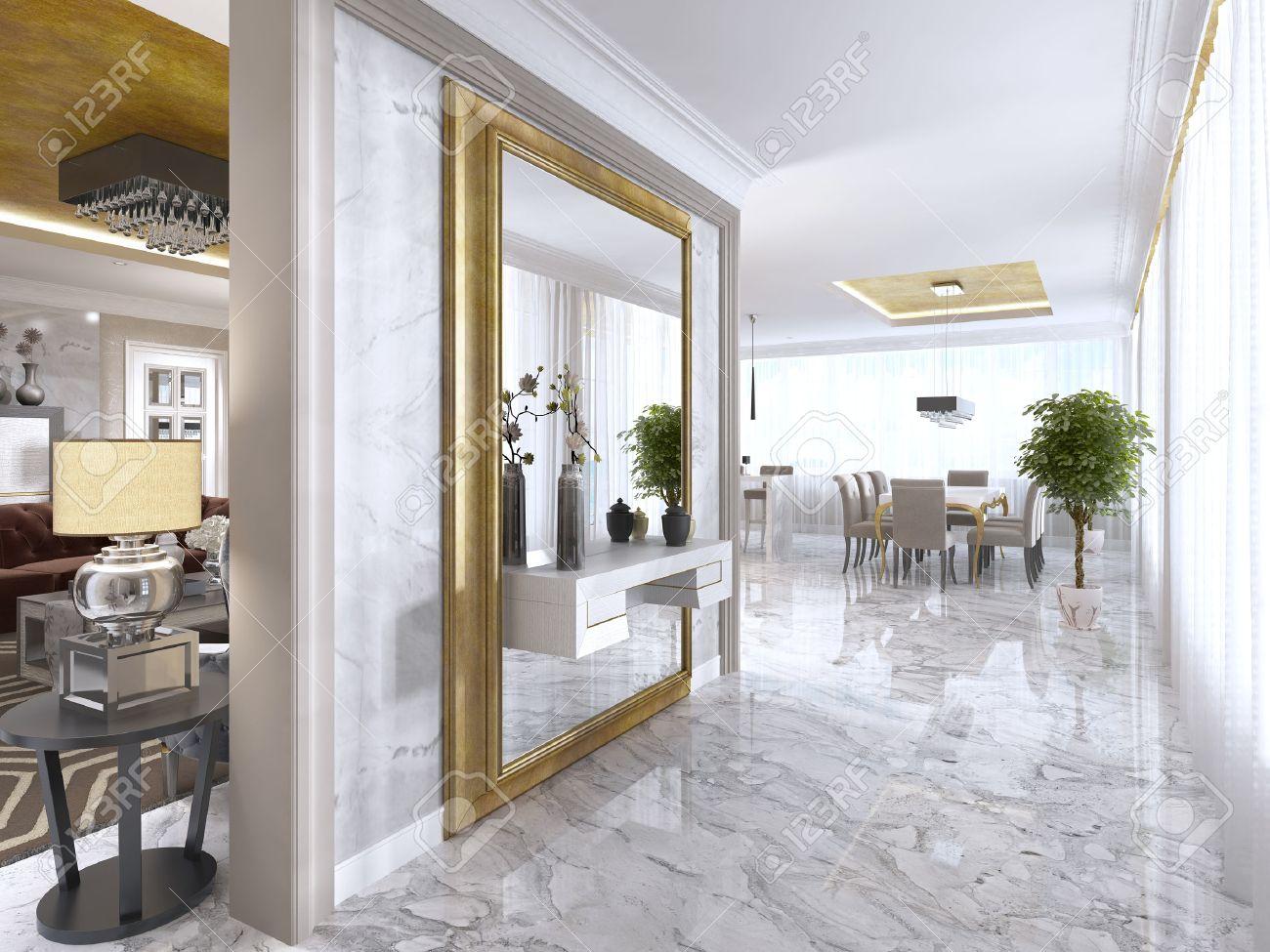 Luxuriose Art Deco Eingang Mit Einem Grossen Designer Spiegel In