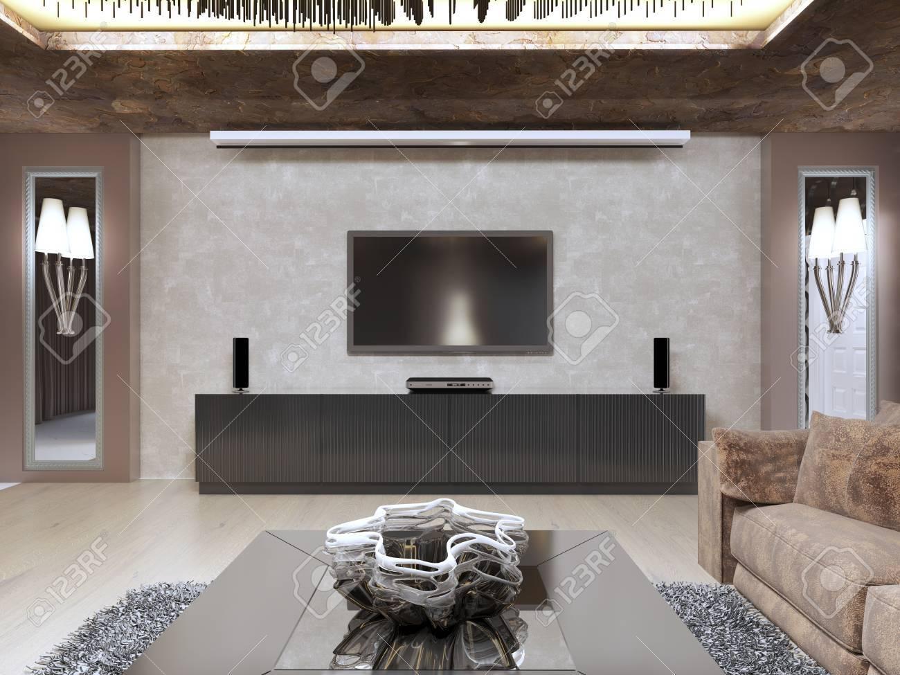Unità TV In Soggiorno Di Lusso Progettato In Stile Moderno. Il ...