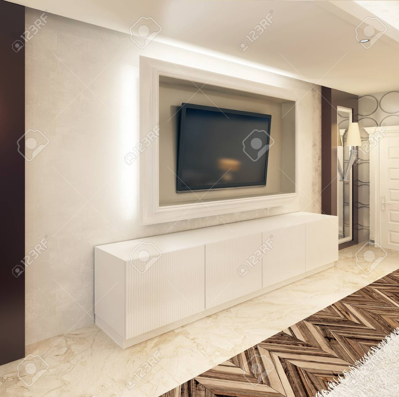 Media Storage TV White Frame And White Drawers Under It. The.. Stock ...