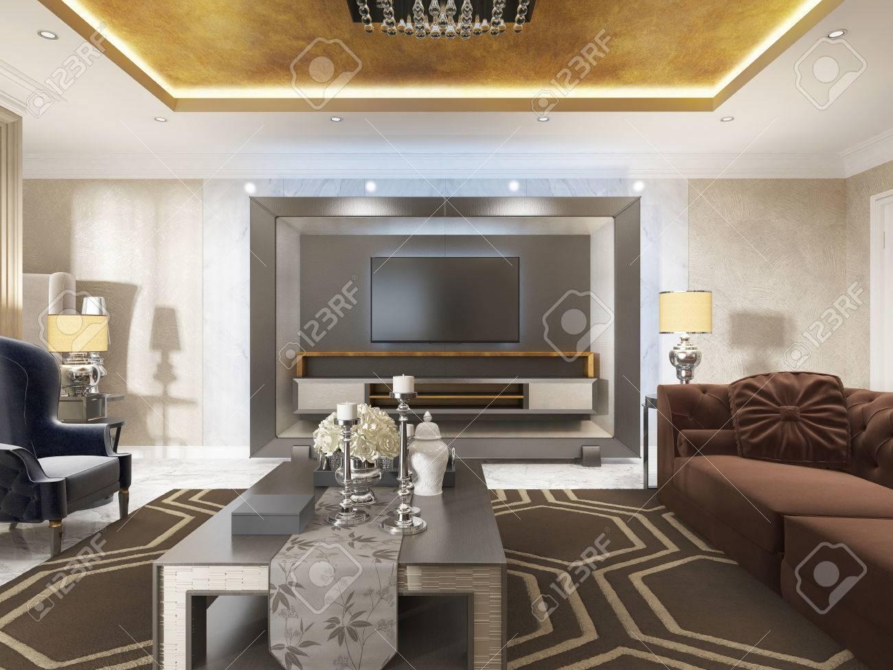 Luxuriöses Wohnzimmer Im Art Deco Stil Mit Lila Sofas Und Sessel Und ...