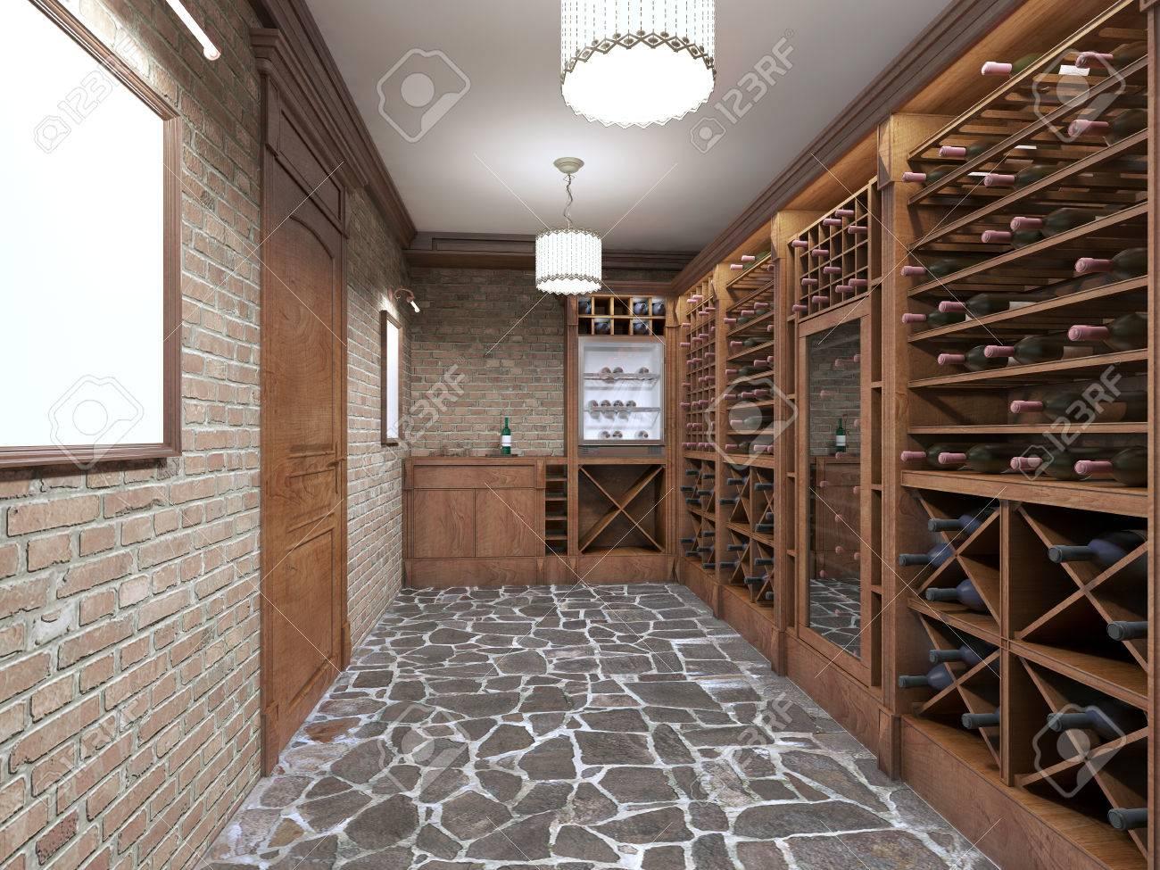 Standard Bild   Weinkeller Im Keller Des Hauses In Einem Rustikalen Stil.  Offene Weinregale Mit Flaschen. 3D übertragen.