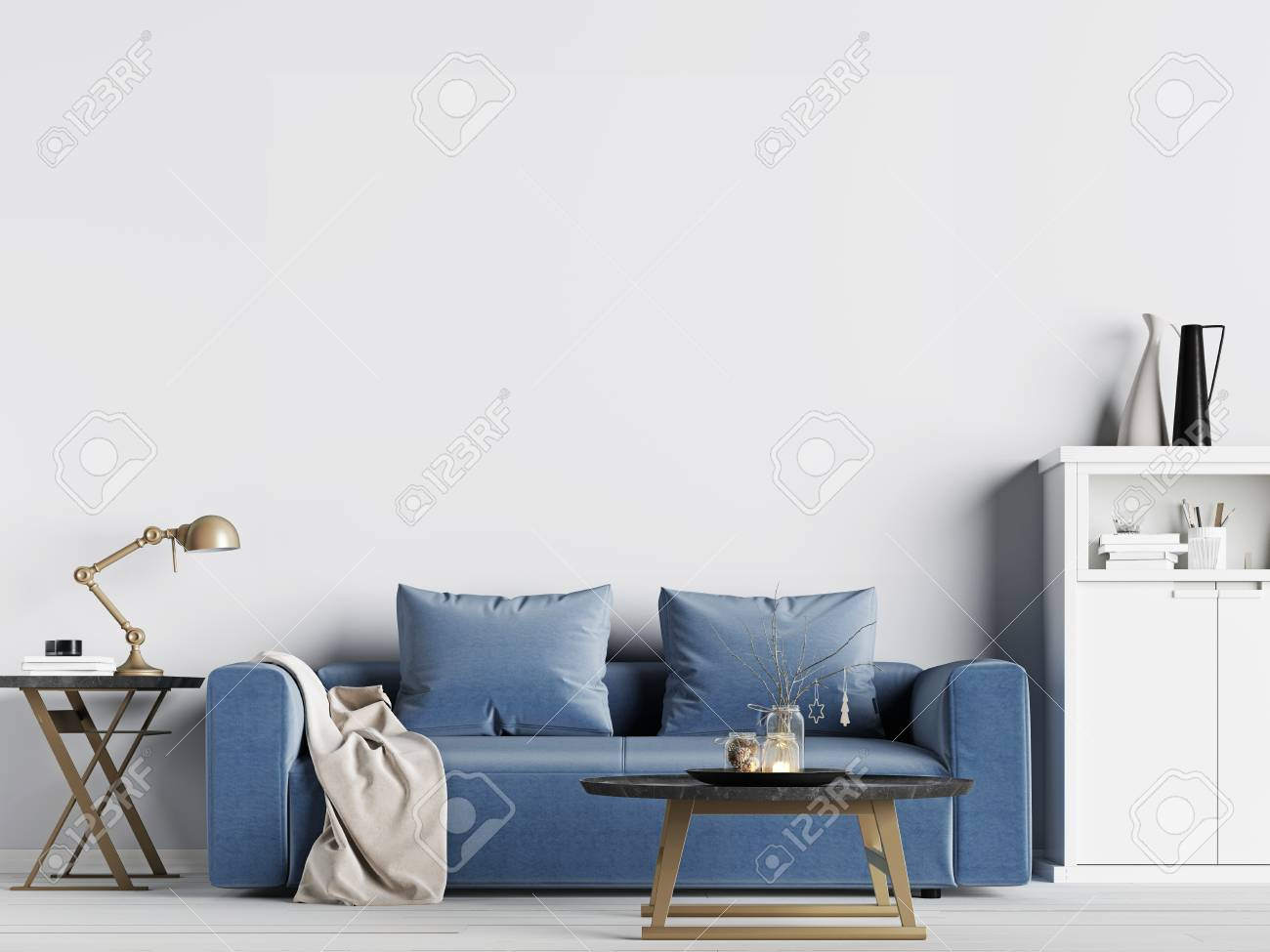 Terrific Mock Up Empty Wall In Interior Background With Blue Sofa Scandinavian Inzonedesignstudio Interior Chair Design Inzonedesignstudiocom