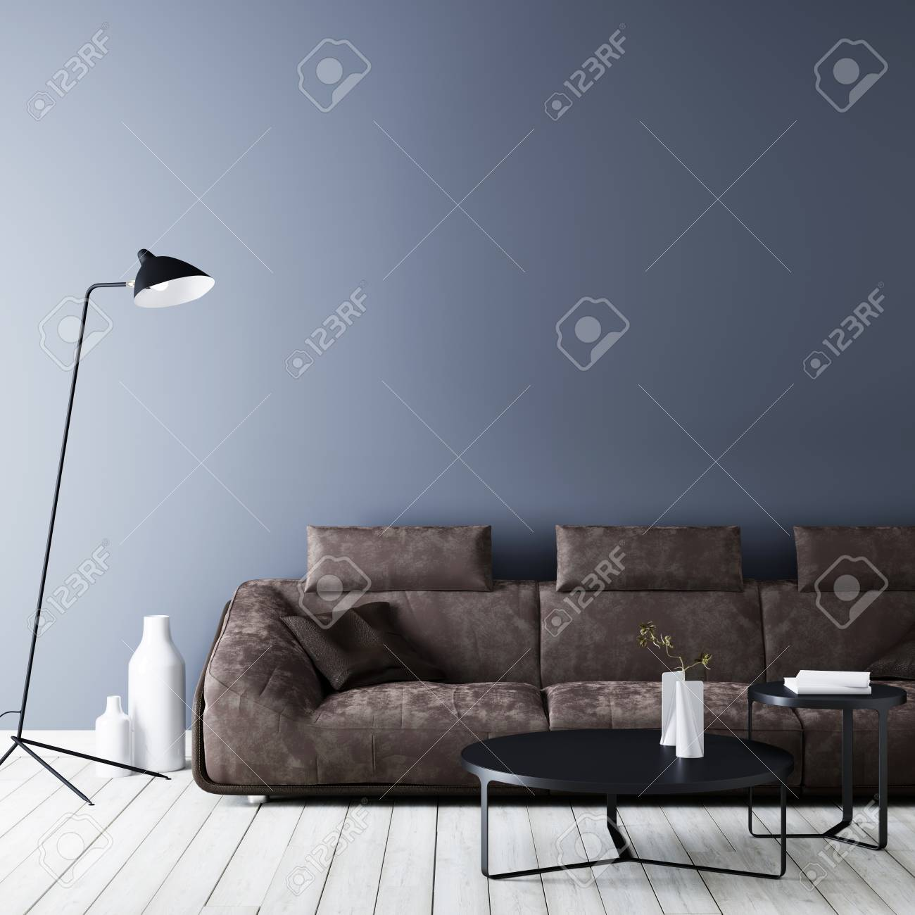 Modern vintage interior ,living room with empty wall for mockup,..