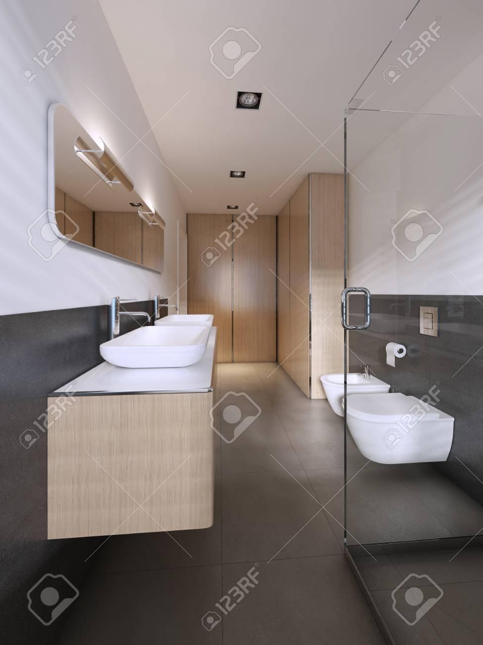 Modern bathroom in scandinavian style with wooden furniture 3d rendering stock photo 113303193