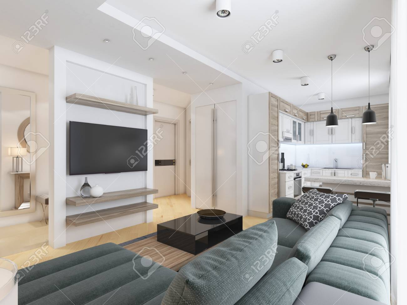 Luxurious Modern Studio Apartment In Contemporary Style. 3D ...