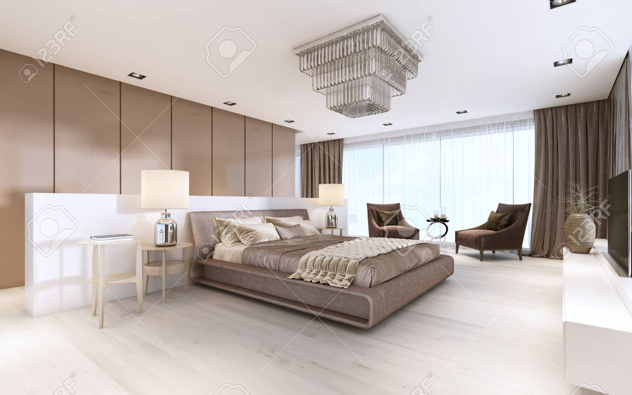 Luxurious modern master bedroom in light colors in pastel colors...