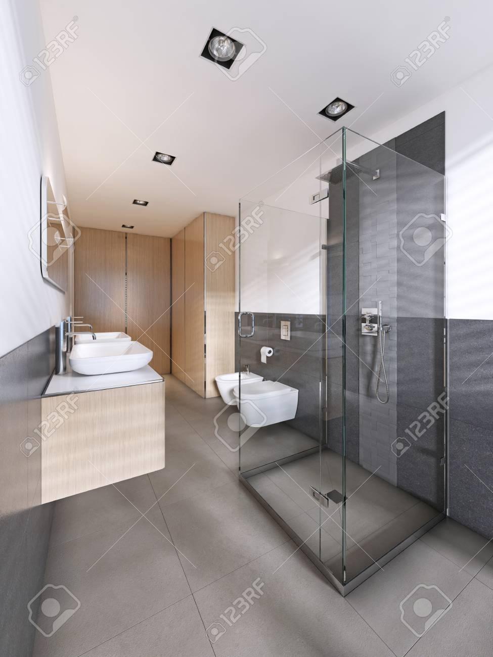 Modern bathroom in scandinavian style with wooden furniture 3d rendering stock photo 113303294