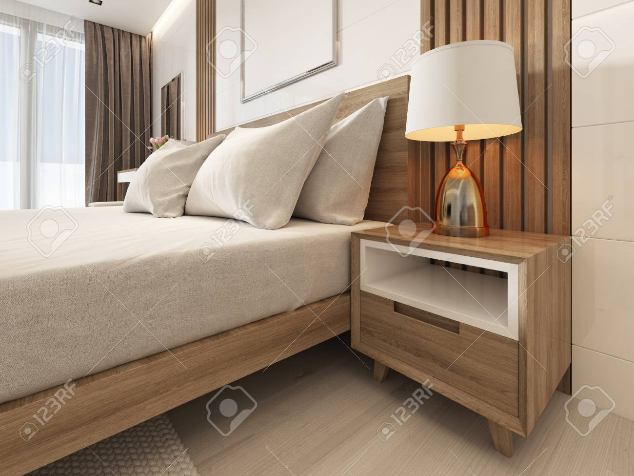 bedside table with a lamp in scandinavian bedroom. 3D rendering