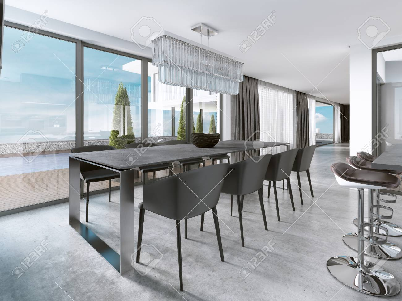Large modern dining table in contemporary kitchen. 3D rendering