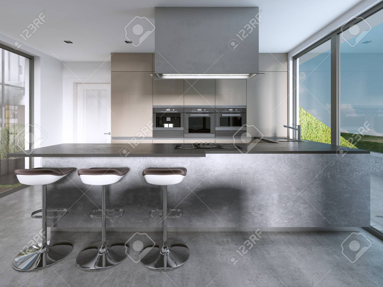 Contemporary kitchen with large windows and island with bar stools...