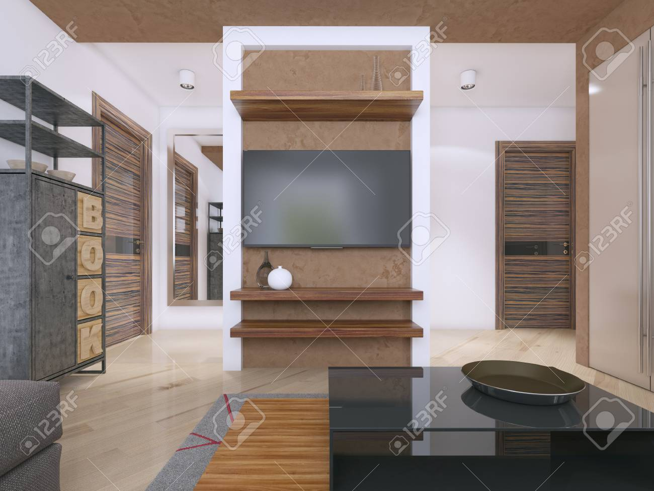 Designer Tv Unit In The Modern Living Room 3d Rendering Stock Photo Picture And Royalty Free Image Image 113303762