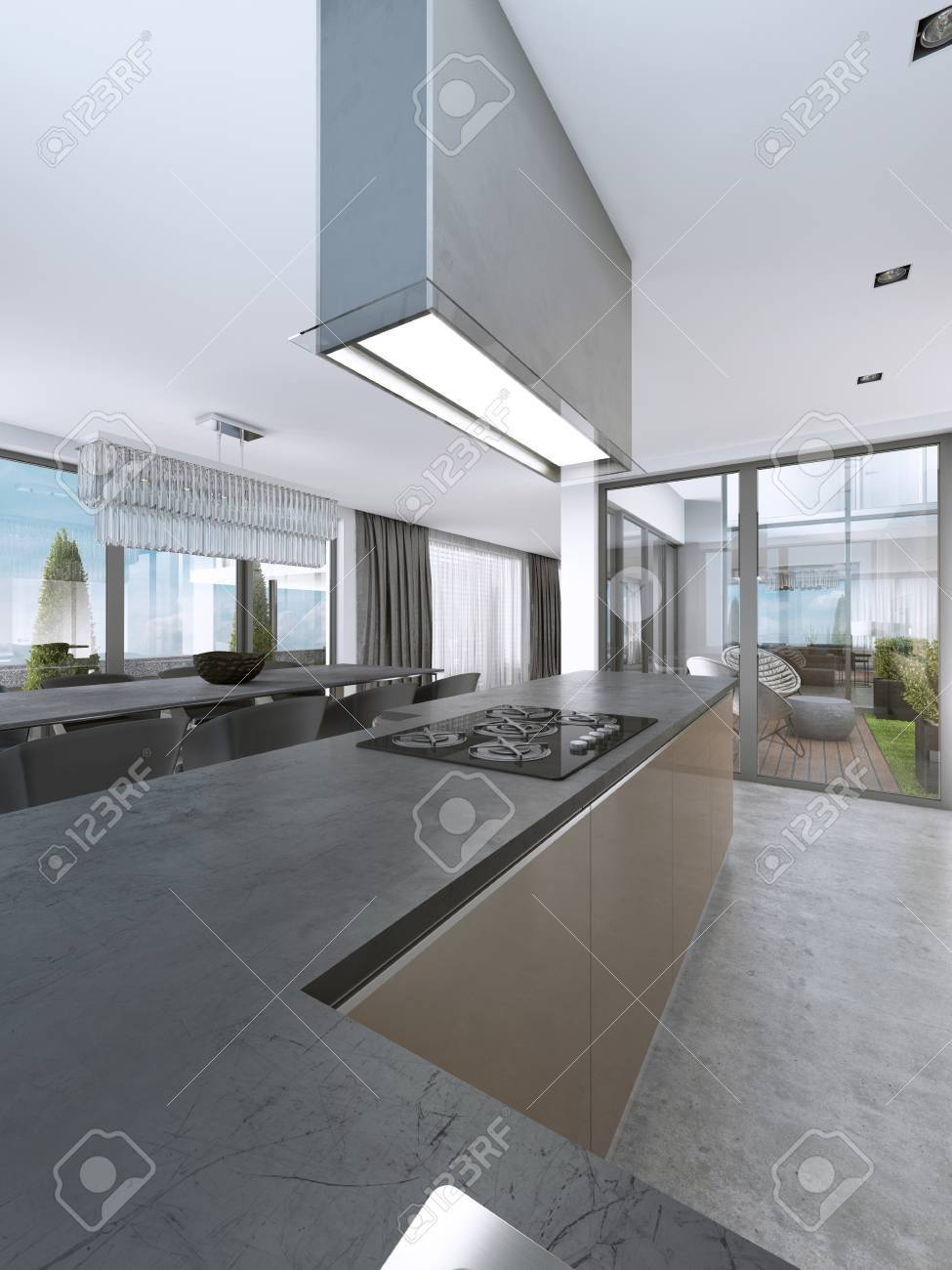 Contemporary Kitchen With Large Windows And Island With Bar Stools