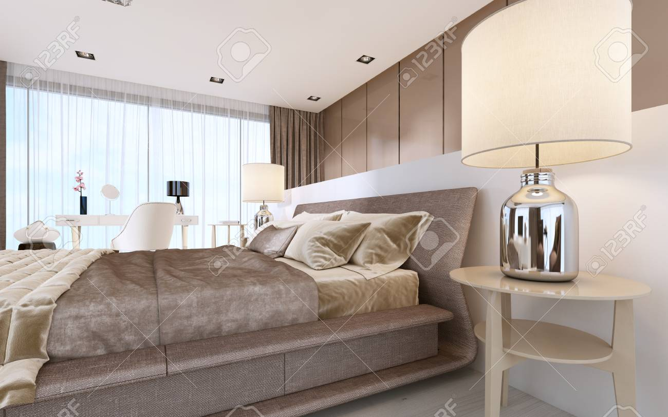 Luxurious Modern Master Bedroom In Light Colors In Pastel Colors