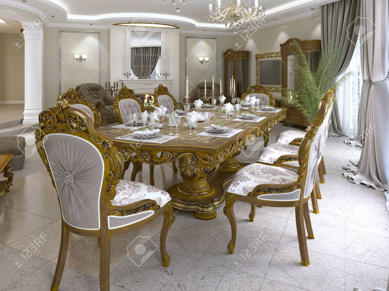 Modern classic dining table in a luxurious baroque living room..