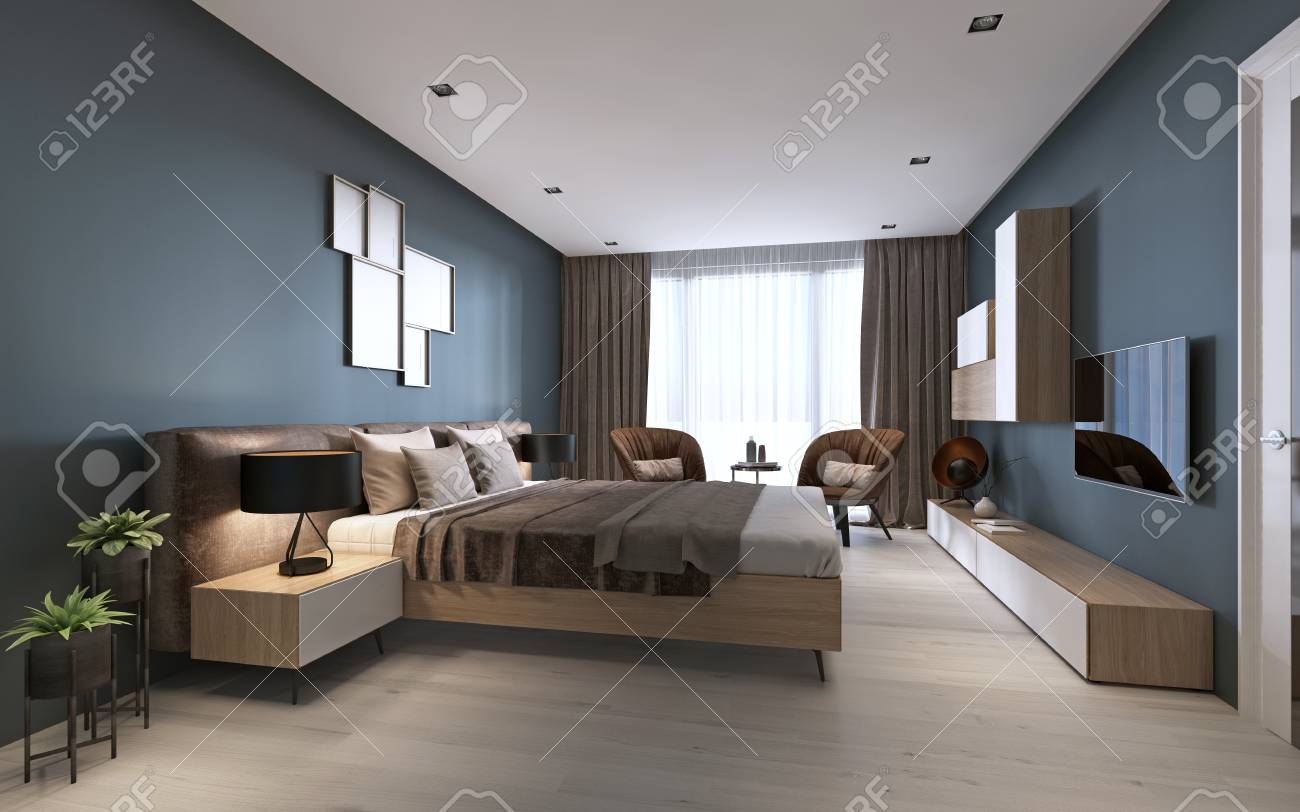 contemporary bedroom with dark blue walls and light furniture