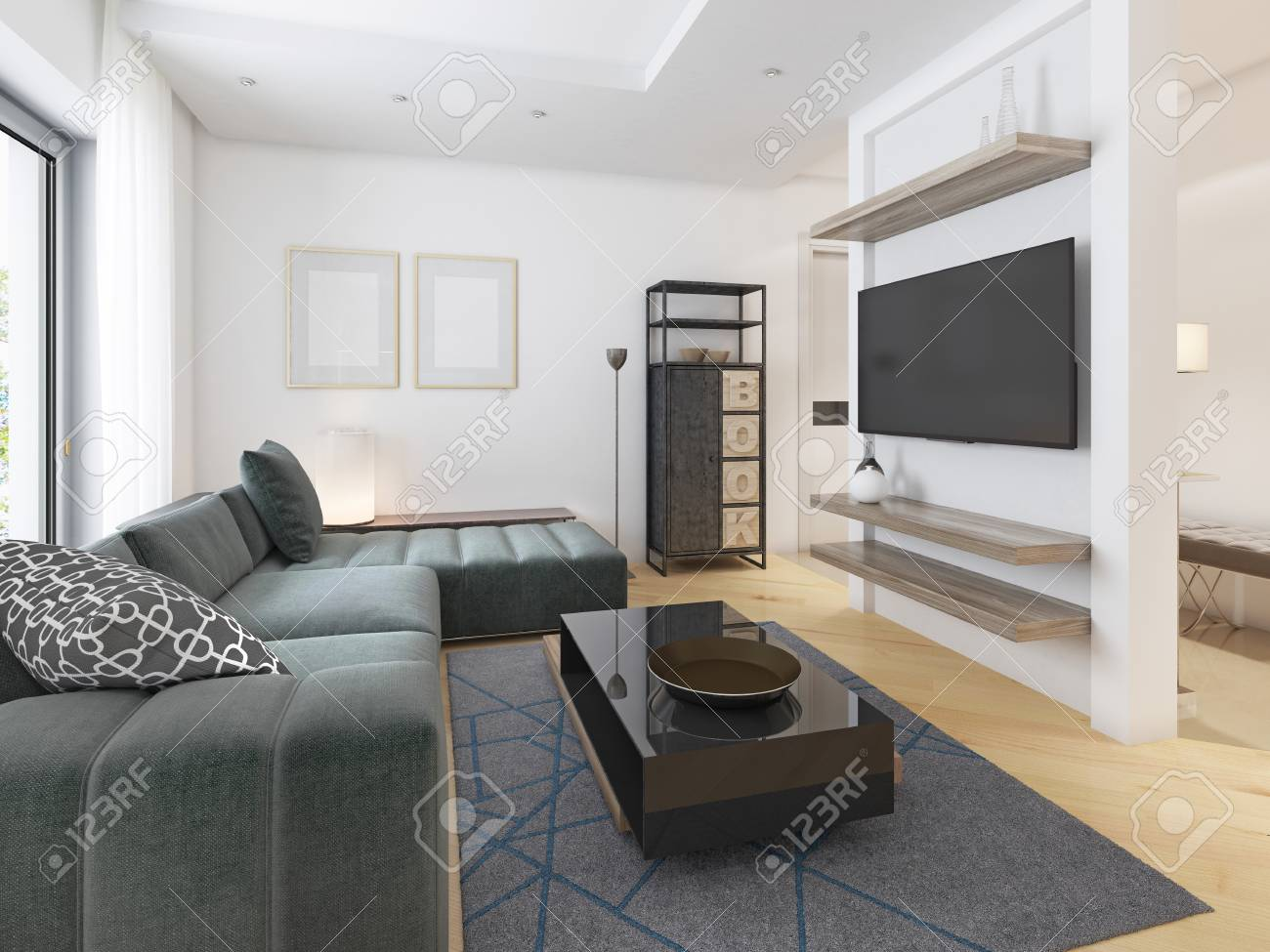 Luxurious modern studio apartment in Contemporary style. 3D rendering