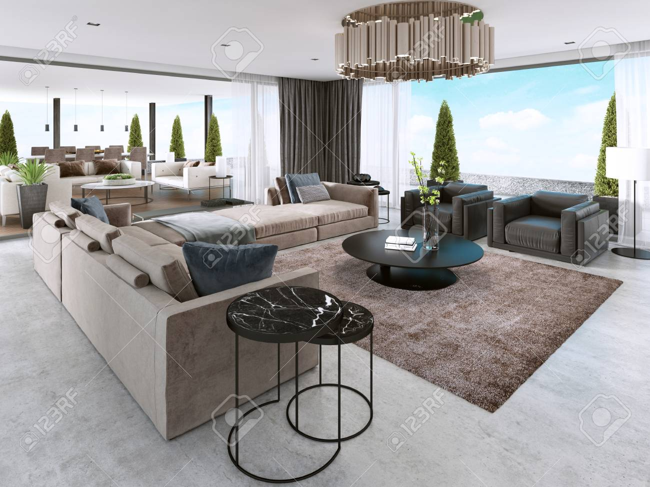 Large Modern Living Room Open Space In A Modern Style 3d Rendering